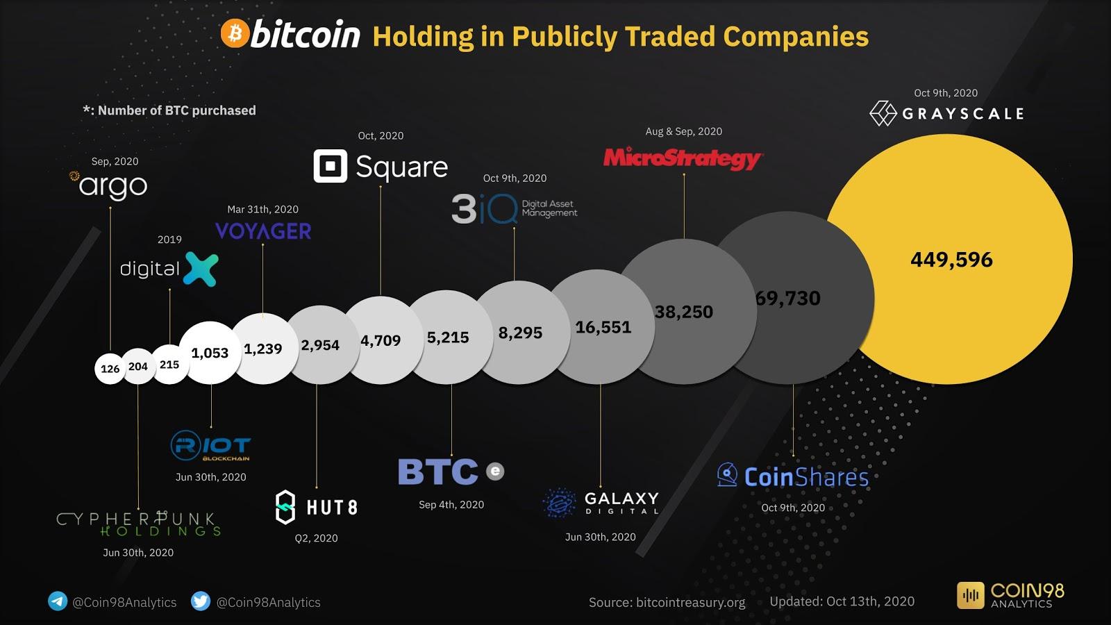 Public companies' Bitcoin holdings
